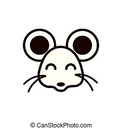 cute face mouse animal cartoon icon thick line