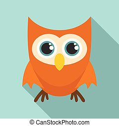 Cute face owl icon, flat style