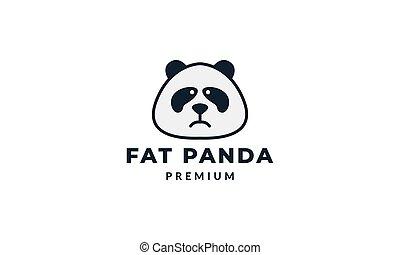cute face panda sad or angry logo icon vector illustration
