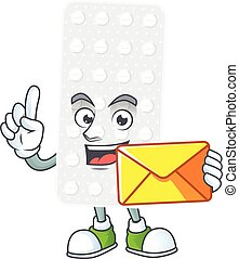 Cute face pills mascot design bring brown envelope. Vector ...