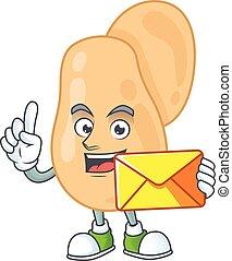 Cute face sarcina mascot design bring brown envelope. Vector...
