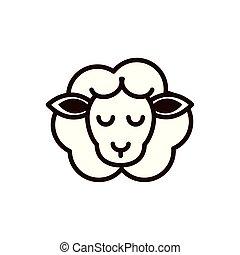 cute face sheep animal cartoon icon thick line