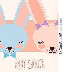 cute faces blue and pink rabbits baby shower card