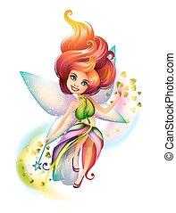 cute, fada, personagem, coloridos