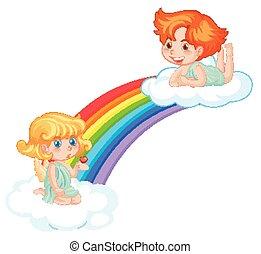 Cute fairies on rainbow on white background