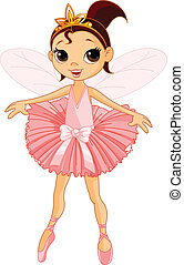 Vector Illustration of Little Cute dancing Fairy Ballerina