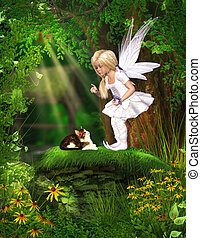 Cute Fairy - A cute fairy protects two birds from a cat. A...
