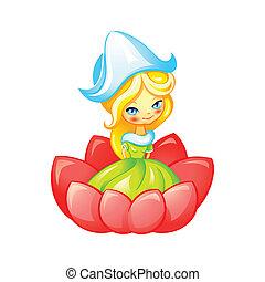 Cute fairy - Cute Thumbelina fairy in flower isolated
