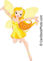 Cute fairy - Illustration of a cute yellow fairy in flight