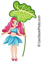 Cute fairy holding a leaf cartoon character on white background
