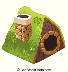 Cute fairy house dugout with chimney isolated on white background. Vector cartoon close-up illustration