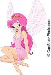 Cute Fairy - Illustration of cute sitting fairy