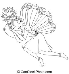 Cute fairy in dress with wings is sleeping on pillow, coloring book