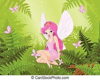 Cute fairy into magic forest
