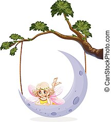 Cute fairy on the moon