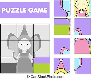 Cute fairy. Puzzle for toddlers. Match pieces and complete the picture. Pre school Educational children game, kids activity page