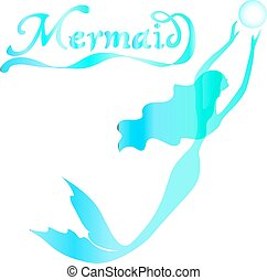 cute fairy swimming mermaid with long curly hair silhouette vector illustration of turquoise on a white background with the words mermaid