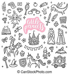 Cute fairy tale and magic objects. Hand-drawn cartoon elements isolated on white background. Doodle Vector Illustration with text. Good for a sticker, indie game, greeting card, badges, children wallpaper or coloring page