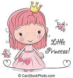 Cute fairy-tale Princess on a white background