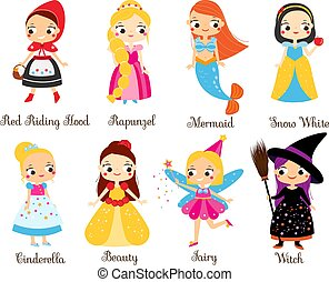 Cute fairy tales characters. Snow white, red riding hood, rapunzel, cinderella princess in cartoon style. Isolated elements for kids illustration