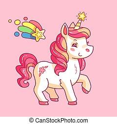 Cute fairy unicorn. Cartoon rainbow pony. Funny horse girlish pink vector background