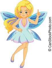 Cute fairy with blue wings