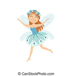 Cute Fairy With Chaplet Girly Cartoon Character.Childish...