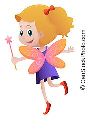 Cute fairy with orange wings