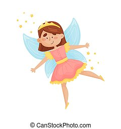 Cute fairy with wings in a pink dress. Vector illustration on a white background.