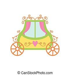 cute, fairytale, ilustração, princesa, carruagem, vetorial, caricatura