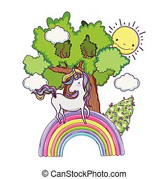 cute fairytale unicorn with tree and rainbow