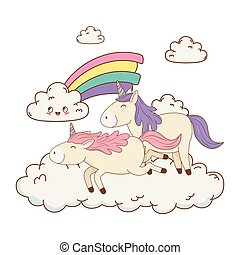 cute fairytale unicorns in clouds with rainbow