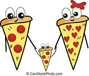cute, família, cor, ilustração, vetorial, ou, pizza