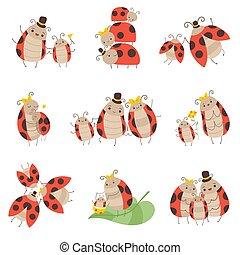 cute, família, ladybug, jogo, pai, ilustração, alegre, seu, insetos, vetorial, caráteres, mãe, bebês, adorável, caricatura, feliz