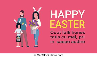 Cute Family At Happy Easter Holiday Parents With Kid Holding Flowers Celebrate Spring Holiday On Template Background