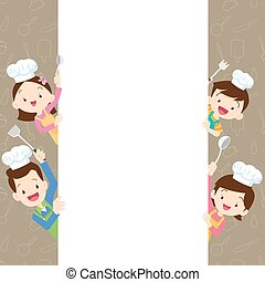 Cute family happy cooking with space frame
