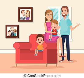 A happy mother in the living room. Illustration of a happy ...