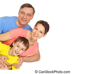 Cute family in bright T-shirts