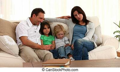 Cute family posing