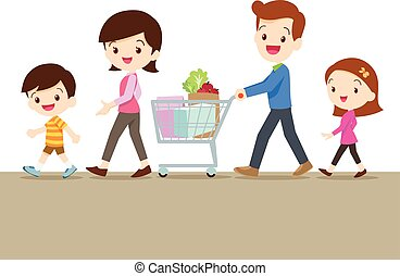 Cute family shopping together