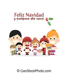 Cute family singing carols at Christmas Night. Spanish title