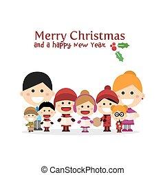 Cute family singing carols at Christmas Night