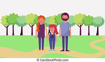 cute family standing in the road park