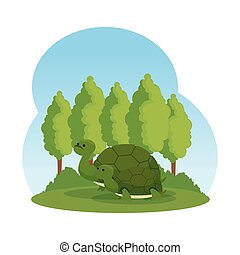 cute family turtles in the field wild characters