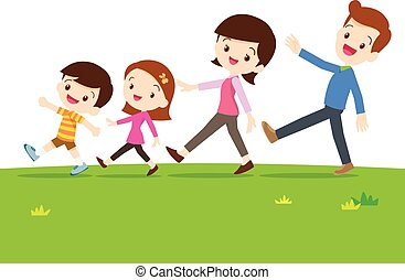 A Family Walking Together Family Of Four Out For A Walk Clipart