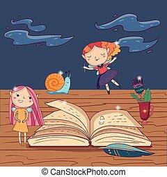 cute, fantasia, menina, abertos, pena, snail., história, flor, copo, caneta, desenhado, livro, fadas, asas, mão, caráteres, pequeno, criança, magia, illustration., madeira, s, vetorial, tabela.