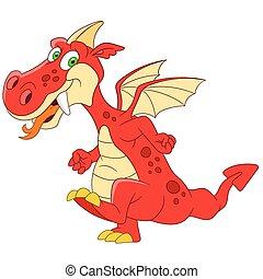 fantastic dragon - cute fantastic dragon is walking and...