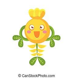 Cute fantastic smiling yellow plant character, nature element cartoon vector Illustration