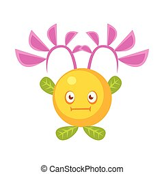 Cute fantastic yellow plant character round shape, nature element cartoon vector Illustration