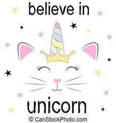 Cute fantasy cat princess unicorn.